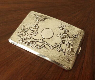 Antique CHINESE EXPORT Sterling Silver Repousse Cigarette Case EX!