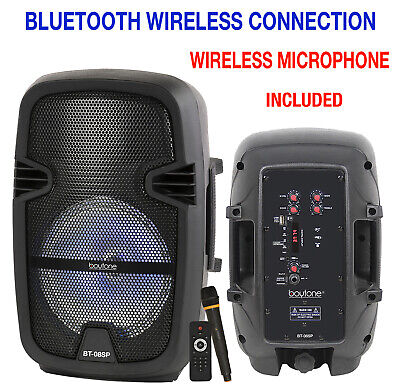 "Portable 8"" Bluetooth DJ Speaker 4500W PMPO, PA Loudspeaker Wireless Microphone"