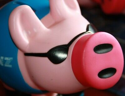 ANZ collectible piggy bank money box pig ANZ Bank toy pig ski pig black glasses