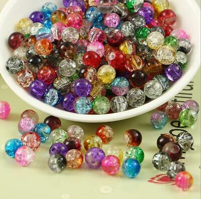 Wholesale 4/6/8/10/12mm Glass Bicolor Crack Crystal Round Loose Spacer bead