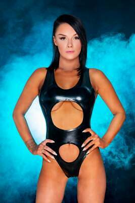 Latex Catsuit Sexy Leotard Rubber Gummi Hollow Front Open 2 Hole Customized 0.4m