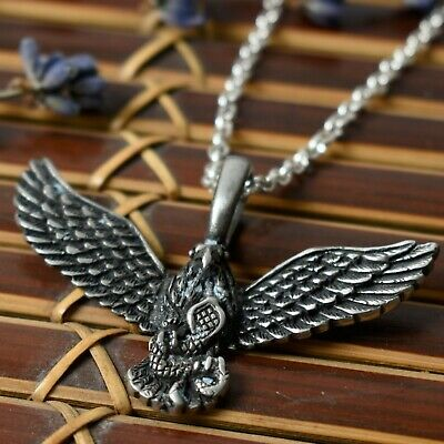 Flying Eagle Hawk Bird Silver Pewter Charm Necklace Pendant Jewelry