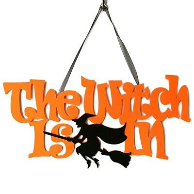 Halloween The Witch Is In Hanging Sign Wall Door Decoration Glitter Hot GmKQs
