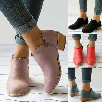 Womens Ladies Flat Ankle Boots Low Heel Block Chunky Booties Shoes Casual UK