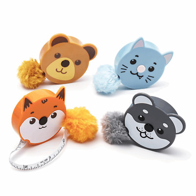 "Fluffy Animals Tape Measure Retractable 150cm/60"" Pom Pom Tail Dog,Cat,Bear,Fox"