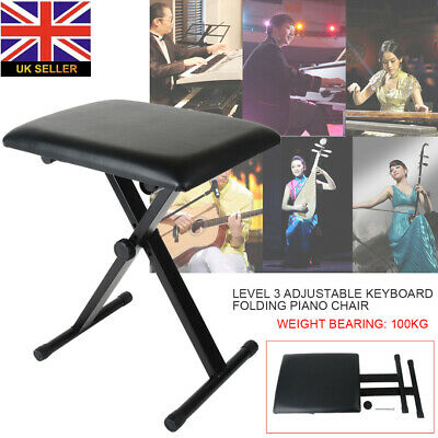 Portable Piano Keyboard Stool Folding Padded Chair Bench Seat Black Adjustable