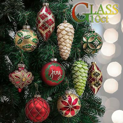 Valery Madelyn 10ct Country Road Glass Christmas Ball Ornaments Red Green