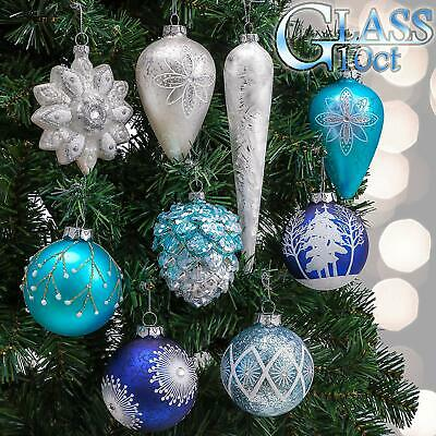 Valery Madelyn 10ct Winter Wishes Glass Christmas Ball Ornaments Silver and