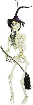 Halloween Haunters 6 Foot Hanging Scary Evil Skeleton Wicked Witch Flying on Her