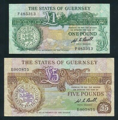 "Guernsey: 1980 £1 & £5 Signature Bull ""GUERNSEY COAT OF ARMS"". Pick 48a & 49a"
