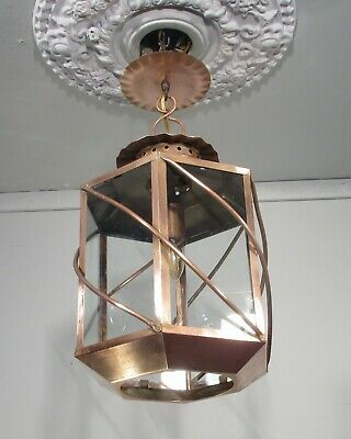 Antique Vintage Copper Light House Style Pendant Fixture Lamp Lantern
