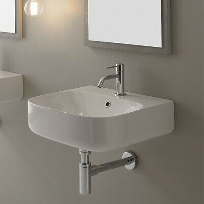 "Nameeks Scarabeo 5507 20"" Ceramic Wall Mounted Bathroom Sink - - White"