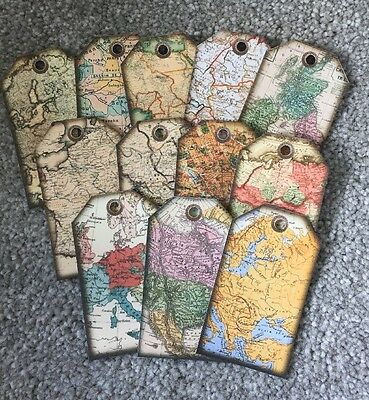 Vintage Map Wedding Party Gift Tags Party Decoration Pack Of 12