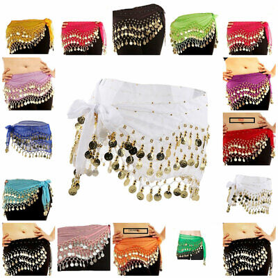 3 ROWS Belly dance costume belt skirt hip wrap outfit gold coin bead scarf