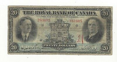1927 The Royal Bank of Canada $20 Note Ch# 630-14-12 SN# 283405