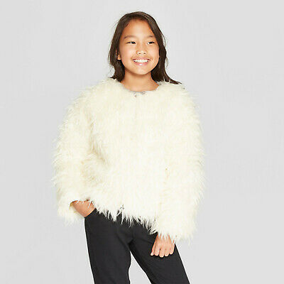 Girls' Faux Fur Jacket- Cat & Jack- Medium- Almond Cream #P8