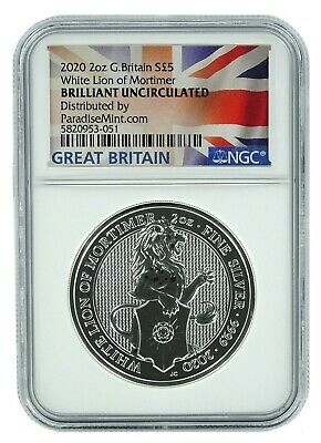 2020 Great Britain 2oz Silver Queens Beast White Lion NGC Brilliant Uncirculated