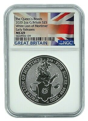 2020 Great Britain 2oz Silver Queens Beast White Lion NGC MS69 Early Releases