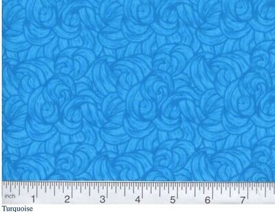 """BY THE YARD 100/% Cotton MDG BLENDED 108/"""" Wide Quilt Backing MBW-24 TURQUOISE"""