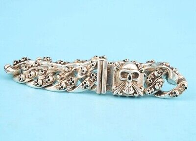 Unique China Tibetan Silver Hand-Carved Skull Bracelet Cool Gift Collec Old