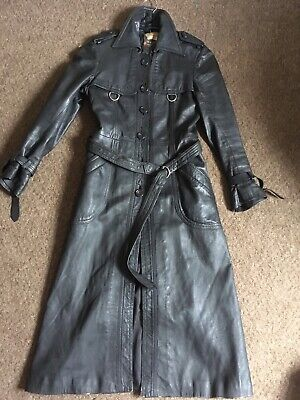 TRUE VINTAGE 70's Ladies Real Leather Long Trench Coat Mac Sz 8 Shabby Cool