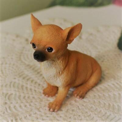 Chihuahua Puppy Dog Figurine 3 inch Statue Resin Sitting Down Tan