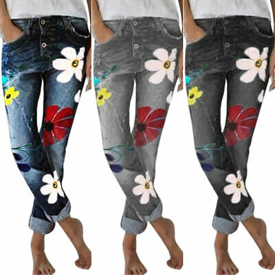 Womens Floral Jeggings Denim Jeans Ladies Straight Casual Pants Loose Trousers