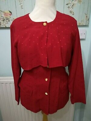 Vintage 1980S Wallis Exclusive Red Layerd Jacket With A Spotted Pattern Size 14