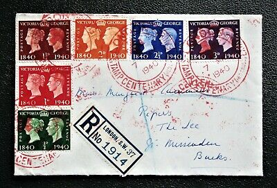 GREAT BRITAIN - 1940 Stamp Centenary Set on Occasional Cover - Used