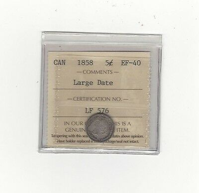 1858 Large Date 8/8, ICCS Graded Canadian,  5 Cent, **EF-40**