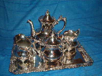Old Silver Plated 5-piece Tea set; Adelphi Silver plated; grape,vine decoration