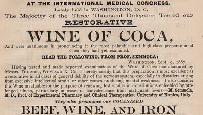 Wine of Coca & Other Quack Medicine Ads - Victorian Print Ad - Nov 1887