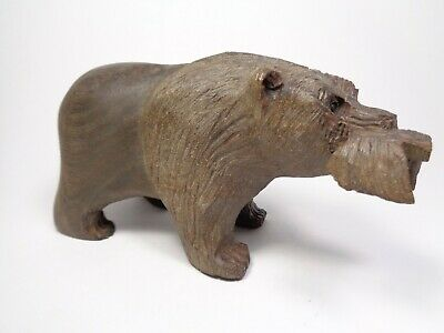 Vintage Ironwood Grizzly Bear Catching Salmon Figurine Mid Century Hand Carved