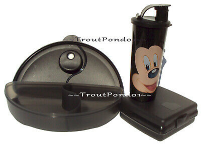 Tupperware CrystalWave Dish Sandwich Keeper Lunch Set Tumbler Mickey Mouse Black