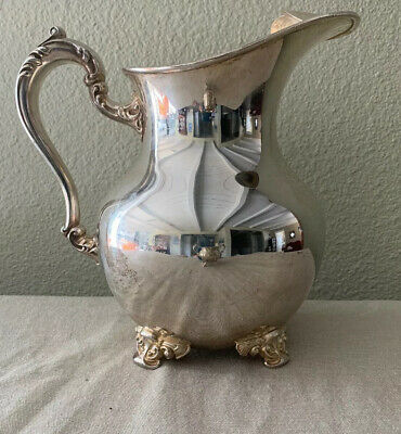 "Vintage Poole Old English Silver EPC 5008 Footed Water Pitcher 8.5"" X 9"""