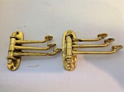 2 brass vintage hinged triple arm stylish coat hooks