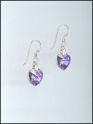 A Beautiful Heart Silver Earrings with Swarovski VITRAIL LIGHT Crystal Hearts