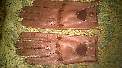 NWOT Sermoneta leather gloves brown size 7 Made in Italy Perfect!