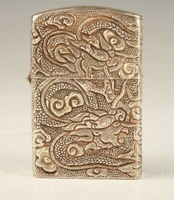 Preciou China Tibetan Silver Lighter Shell Hand-Carved Old Crafts Collection