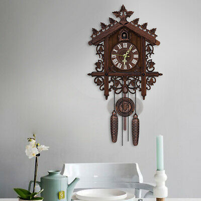Vintage Style Handcrafted Wood Cuckoo Clock Tree House Swing/Wall Clock Decor