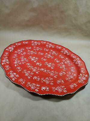 """Temp-tations Floral Lace Romance Large 20"""" X 15"""" Oval Serving Platter Tray New"""