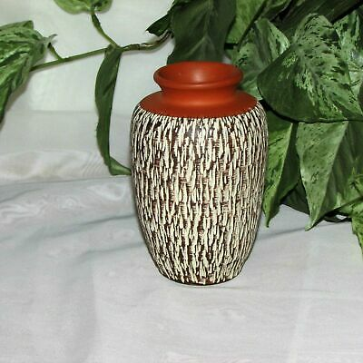 "German Art Pottery Vase 4 3/4"" Tall Signed W. Germany Brown Tan Textured Vintage"
