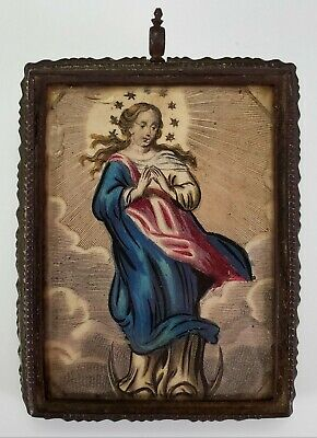 ANTIQUE 17th C. CATHOLIC RELIQUARY RELICS MADONNA VIRGIN MARY ICON PAINTING