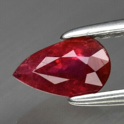 0.55ct 6.3x4mm Pear Natural Unheated Untreated Red Ruby, Tanzania