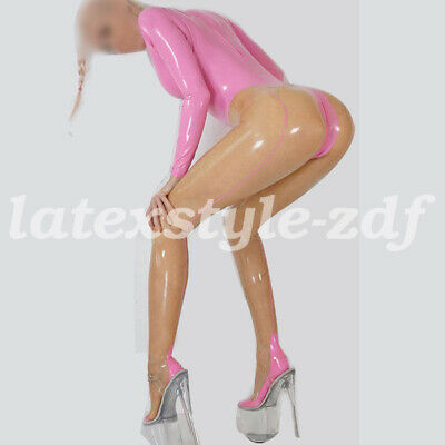 Latex Gummi Rubber Women Pink and Transparent Catsuit Bodysuit Tights Suit S-XXL