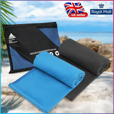 1/2 Small Large Microfibre Beach Bath Hand Towel Sports Travel Gym Lightweight