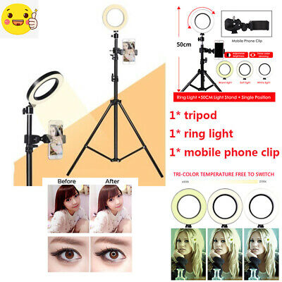 "16"" Dimmable LED Ring Light 5500K Photography Photo Studio Camera Phone Stand UK"