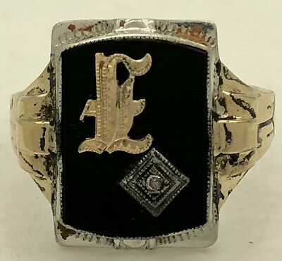 Ostby Barton O.B. Sterling Silver & 10k Signet Ring Sz 10.25 6.1g
