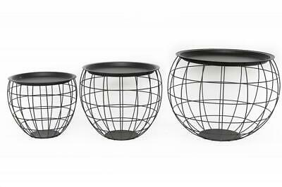 Black Metal Round Wire Basket Storage Table with Metal Tray Top