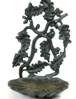 Vintage Cast Iron Fountain Wall Mount Display Garden Figural Bird Oak Leaf Acorn